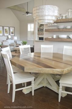 Octagon Dining Room Table…with a farmhouse base! (Make It and Love It) DIY Octagon Dining Room Table…with a farmhouse base!DIY Octagon Dining Room Table…with a farmhouse base! Farmhouse Dining Room Table, Diy Dining Table, Dining Room Furniture, Diy Furniture, Table Bench, Dining Area, Dining Rooms, Dining Chairs, Kitchen Tables