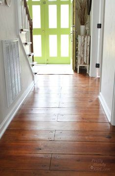 How to Refinish Wood Floors without Sanding (Pretty Handy Girl) Old Wood Floors, Sanding Wood, Painted Wood Floors, Refinishing Hardwood Floors, Pine Floors, Painted Furniture, Floor Refinishing, Wood Walls, Basement Flooring