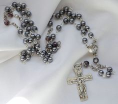 Silver Pearl Rosary by AllToolsPrayerful on Etsy.  Shop for 1st Communion and Confirmation Rosaries for young and adult. Custom requests also accepted.    Visit AllToolsPrayerful for many Christian products.