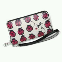 Brighton Vera Blooms Tech All leather Lady Bug Wallet Wristlet NWT!