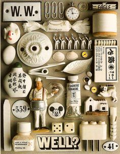 white collage by guido cecere Collage Kunst, Collage Art, Collages, Color Collage, Collections Of Objects, Displaying Collections, Rembrandt Drawings, Things Organized Neatly, Inspiration Artistique