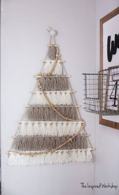 Need a cute way to show off all those adorable family Christmas cards? Join me in making a DIY tree card holder of tassels to display all the cards! Family Christmas Cards, Noel Christmas, Simple Christmas, Christmas Ornaments, Christmas Signs, Diy Tassel, Tassels, Bohemian Christmas, Easy Christmas Decorations