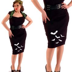 "With tights & a tee or sweater for a no-costume party. ""Batty"" pencil skirt by Dressed To Kill."