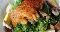 House smoked Salmon on a bed of mixed greens! This salad is a favorite!