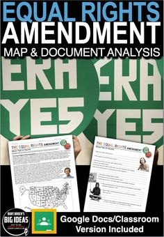 The Equal Rights Amendment (ERA) Document & Map Analysis + Distance Learning Ver Teaching American History, American History Lessons, Teaching History, History Lesson Plans, Social Studies Lesson Plans, Phyllis Schlafly, Equal Rights Amendment, Teaching Government, Substitute Teacher