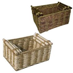 Two-tone Maize and Seagrass Storage Baskets (Set of 3) | Overstock.com Shopping - Great Deals on Baskets & Bowls