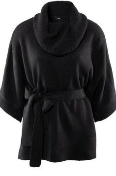 Black High Neck Dolman Half Sleeve Belted Sweaters