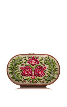 Summer Roses Embroidered Oval Bag by Katrin Langer for Preorder on Moda Operandi Flower Fashion, Fashion Bags, Chuck Tv Show, Market Bag, Crossbody Bag, Clutch Bags, Purses And Handbags, Saddle Bags, Pouch