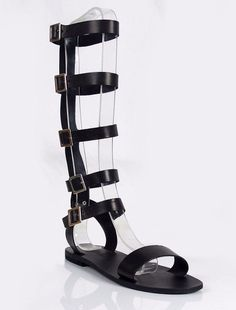 e7fb628e1d9c men tall knee high black leather gladiator sandals strappy Roman Spartan  Cosplay