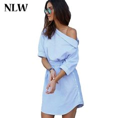 2016 Blue Elegant Striped Slash Neck Women Dress Sashes Loose Casual Mini