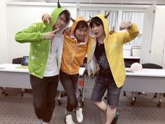 Yuusuke Shirai, Tsubasa Yonaga, and Takuya Eguchi. Rhythm Games, Slice Of Life, Voice Actor, Actors, The Voice, Rain Jacket, Windbreaker, Idol, Children
