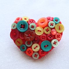 Heart brooch - Felt and buttons - 'Mexicana' - red, teal, mint - FREE UK P&P £6.95