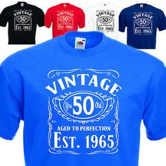 Vintage Since 1965, 50th Birthday Gift FUNNY MENS COTTON T-SHIRT UPTO SIZE 5XL.