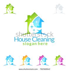 House Cleaning Vector Logo Design, Eco Friendly with shiny Home and circle Concept isolated on white Background Cleaning Service Logo, Vector Logo Design, Clean House, Slogan, Eco Friendly, Royalty Free Stock Photos, Concept, Illustration, Illustrations