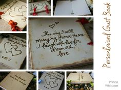 Personalized Wedding Guest Book Rustic Chic Keepsake Handmade Your Names Date Perfect Sign In Journal Woodland Cottage Romance. $44.99, via Etsy.