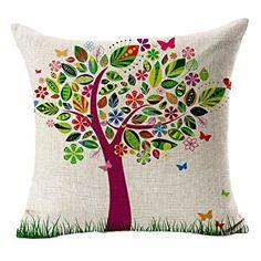 Funda cojín vintage árbol de colores