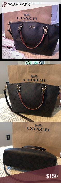 32ad9ef91104 New Coach F28989 Small Kelsey Satchel Purse Handbag Signature Canvas Brown  Red