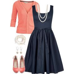 Love this semi-formal look, especially the pairing of the navy dress with the coral cardigan and flats and the pear necklace, earrings, and bracelet.
