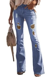 f334ad42d1df6d Sky Blue Vintage High Waist Leopard Patch Flared Bell Jeans Flannel Lined  Jeans, Cheap Jeans