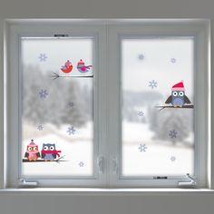 Vánoční dekorace na okno Sovy a vločky, Vánoce na sklo