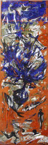 """""""L'arbre du bandit"""" By Marianne Le Vexier sur www.passionartly.com Oil painting """"l'arbre de la vie au centre avec des poissons qui nagent autour du tronc ,ils symbolisent la marche à suivre pour rester dans la fluidité et la légèreté."""" Size : 40 x 120 x 2 cm Theme : Surrealism"""