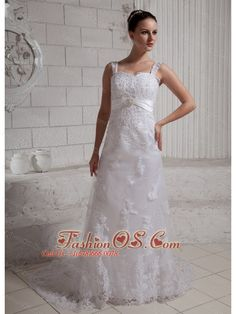2013 Straps Beaded Lace Wedding Dress With Court Train  http://www.fashionos.com  http://www.facebook.com/fashionos.us  This strap lace overlay wedding dress will definitely promise you a perfect wedding. The fitted bodice has wonderful straps with lace, the narrow waistband highlights your slim waist. The A-line skirt has a wonderful satin underlayer that adds fullness and gives the skirt its shape.