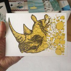 Nashorn / / Tier Abbildung Screen Print / / Silk von juliakiss