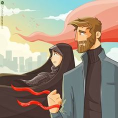 No photo description available. Couple Cartoon, Girl Cartoon, Couple Illustration, Illustration Art, Illustrations, Iran Pictures, Cute Love Images, Cute Muslim Couples, Islamic Cartoon