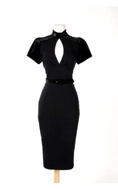Violet Dress in Black Bengaline with Black Velvet | Pinup Girl Clothing