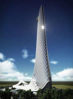 Conceptual design of a skyscraper for the Folkart Group done back in Unique Architecture, Concept Architecture, Futuristic Architecture, Facade Architecture, Sustainable Architecture, Modern Skyscrapers, Modern Buildings, Best Architects, Amazing Buildings