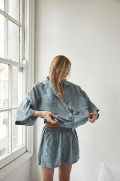 pre order for february delivery oversized linen shirt, featuring wide arms and front pocket loose fitting shorts with elastic waist can be worn at home, in bed or out made from 100% stone washed french linen   FIT NOTES: SM -  size 6-8 AU (short waist 68cm, extended waist 90cm)ML -  size 10-14 AU (short waist 70cm, extended waist 102cm)
