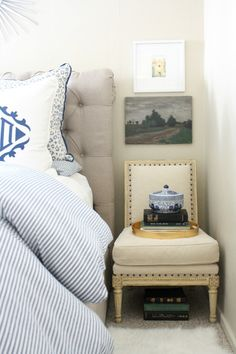 Master Bedroom | Blue and white bedroom linens | Use chair instead of nightstand for small space | Monogram | Sunburst mirror | gold and white | Pink accents | Crane Concept Blog | Design