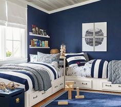 Shop Pottery Barn Kids' Vintage Sports Shared Room for shared bedroom ideas and inspiration. Find furniture, bedding and more that will be perfect for siblings sharing a room. Shared Boys Rooms, Shared Bedrooms, Boy Rooms, Bedroom Sets, Kids Bedroom, Bedroom Decor, Bedroom Furniture, Kids Furniture, Furniture Sets