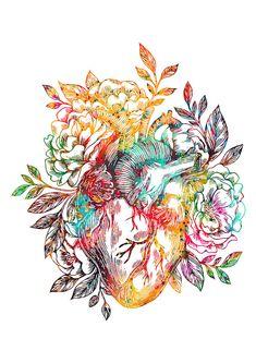 Medical And Science Art poster prints by Erzebet Prikel Heart Artwork, Cool Artwork, Anatomical Heart Drawing, Heart Poster, Heart Illustration, Anatomy Art, Heart Anatomy Drawing, Heart Painting, Medical Art