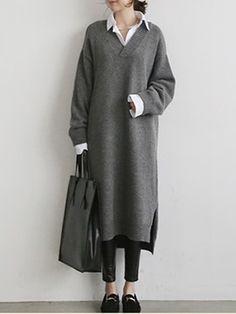 db7ce2d3d4867 Doresuwe ニットカジュアル長袖ワンピースロング丈妊娠服ゆったり暖かいレディースファッション