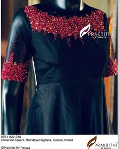 Hand Embroidery Dress, Flower Embroidery Designs, Embroidered Blouse, Beaded Embroidery, Dress Neck Designs, Blouse Designs, Indian Attire, Indian Wear, Saree Designs Party Wear
