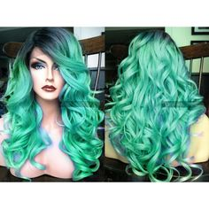 Pastel Lace Front Wig Teal Blue Green Curly LACE Front Skin Part... ($88) ❤ liked on Polyvore featuring beauty products, haircare, hair styling tools, straightening iron, flat iron, styling iron, curling iron and straight iron