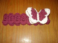 """Crocheted Butterfly Headband 14"""""""