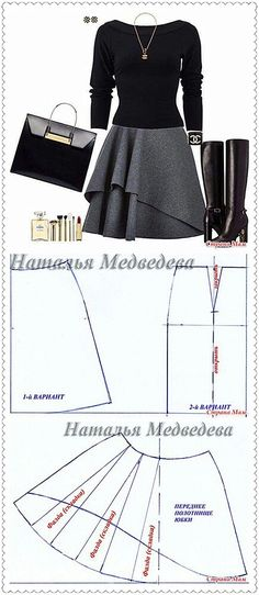 Layered circle skirt pattern drafting