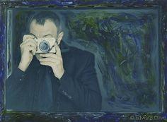 """Framed painted self portrait in blues & greens"" - Copyright Edward Olive portrait photographer fotografo de retratos"