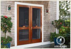 Wooden Screen Storm Door 046 Double Screen Doors, Front Door With Screen, French Doors With Screens, Wood Screen Door, Sliding Screen Doors, Wooden Screen, Wood Doors, Wood Shutters, Front Entry