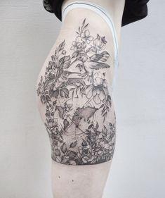 Tattoo Valeriya Reyn - tattoo's photo In the style Whip Shading, Dotwork, Flowers, Hummingbird, Fema Hummingbird Flower Tattoos, Flower Leg Tattoos, Floral Thigh Tattoos, Pink Rose Tattoos, Wrap Tattoo, Bum Tattoo, Knee Tattoo, Body Tattoos, 2pac Tattoos
