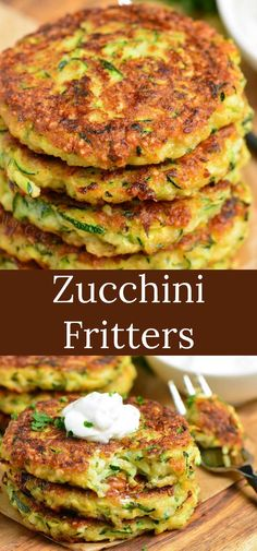 Fritters made with fresh zucchini, Parmesan cheese, and a some Mozzarella cheese for an extra cheesy bite. It's pan fried to be crispy in the outside and soft on the inside. Zuchinni Recipes, Vegetable Recipes, Vegetarian Recipes, Cooking Recipes, Healthy Recipes, Parmesan Recipes, Large Zucchini Recipes, Shredded Zucchini Recipes, Curry Recipes