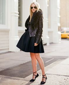 black outfit with leather jacket