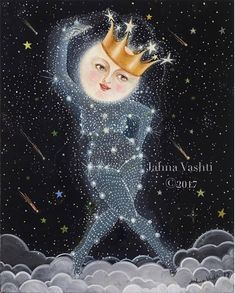 Moon Art / Full Moon / Print / Home Decor / Nursery / Sister Moon / Full Moon Art / Whimsical Art Moon Goddess Constellation Stars art Mandala Art, Nursery Wall Art, Wall Art Decor, Print Moon, Galaxy Decor, Art Fantaisiste, Vash, Good Night Moon, Moon Goddess