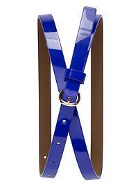 #SLU blue Patent Skinny Belt