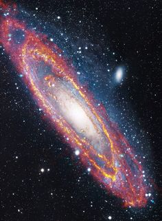 """Hubble Space Telescope """"Why the Cosmos, Why the Quantum, Why Existence"""" Andromeda Galaxy in visible and infrared light Cosmos, Hubble Space Telescope, Space And Astronomy, Infrared Telescope, Galaxy Space, Galaxy Art, Hubble Images, Galaxy Images, Galaxy Pictures"""