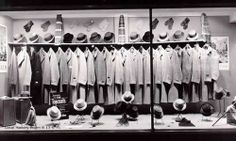 Photo of window display of men's overcoats, hats, gloves and scarves. Vintage Store Displays, Vintage Display, Window Display Retail, Display Windows, Window Displays, Old Man Hat, Hat Display, Display Ideas, Hats For Men