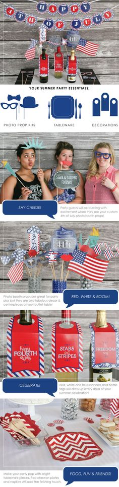 4th of July Party Decorations: Red, White and Blue Banner, Photo Booth Props, Tableware and Other Party Supplies