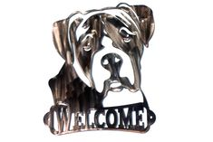 Boxer with Natural Ears Welcome Sign - CAN BE CUSTOMIZED! by VulcanixArt on Etsy
